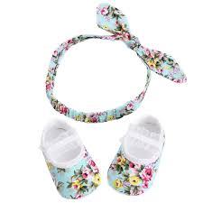 Spring <b>Floral</b> Bow <b>Headband Baby</b> Girl Shoes First Walker <b>2pcsSet</b> ...