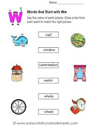 Word With Ad Words That Starts With W Matching Pictures And Words Started With W