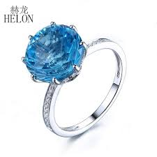 <b>HELON Solid 10K</b> White <b>Gold</b> 10mm Round Cut 7.78ct Blue Topaz ...