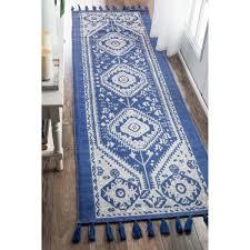 gorgeous blue runner rug with nuloom flatweave tribal diamond dragon cotton tassel blue runner