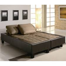brown fabric sofa bed and ottoman set