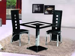 small square black glass dining table with 2 chairs set
