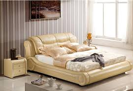 GENUINE LEATHER BED LUXURY STYLE GOLDEN YELLOW SIMPLE FASION