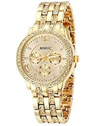 amazon in gold watches addic born in gold jewel studded analogue gold dial women s watch addicww220