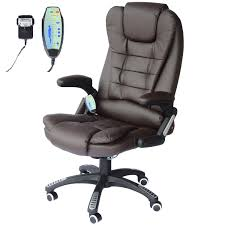 homcom deluxe reclining faux leather office computer chair 6 point massage high back desk work swivel chair brown co uk garden outdoors