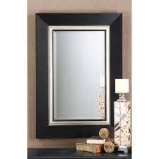 matte black wood rectangular framed mirror
