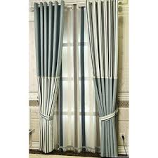 Blue Striped Modern Color Block Curtains