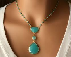 long aqua chalcedony pendant necklace blue green bohemian pendant statement necklace bohemian style bygerene