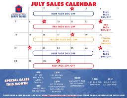 July Thrift Store Sales Calendar St Matthews House