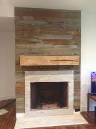 reclaimed wood fireplace surround and mantel