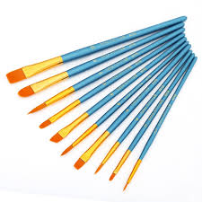 Nylon <b>Hair</b> Watercolor Gouache Paint Brushes <b>10 pcs</b> Set