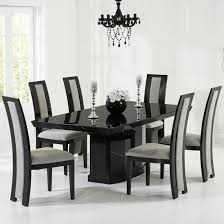 hamlet marble dining table in black with 8 allie grey chairs