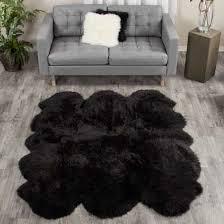 black sheepskin rug. Large Black Sheepskin Rug - 6-pelt Sexto (5.5x6 Ft) Special