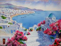 watercolor path to the harbour mykonos