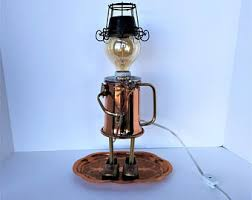 repurposed lighting. Steampunk Lighting - Assemblage Art Robot Recycled Upcycled Sculpture Accent Light Repurposed Found Object