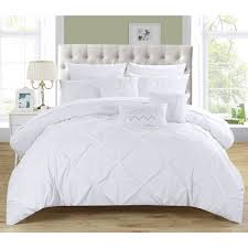 white pleated comforter. Plain Pleated This Elegant Comforter Set Features A Stunning White Pleated Pinch Comforter  The Luxurious Comes With Complete Coordinating Sheet And  Inside White Pleated Comforter