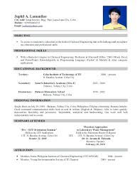 Formal Resume Sample Formal Resume Letter Sample
