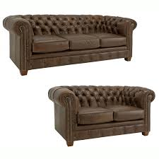 awesome brown leather chesterfield couch with three seater and loveseat for living room furniture