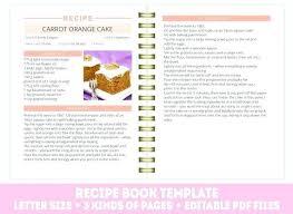 Recipe Binder Templates Recipe Template Printable Journal Book Cooking Binder Printables