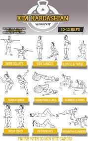 kim kardashian workout chart her 9 exercise routine