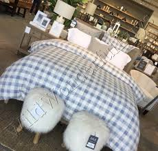 pottery barn buffalo check duvet cover blue king 2 standard sham farmhouse rhett for