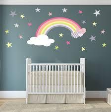 Star Bedroom Decor Rainbow Wall Decal Girls Wall Stickers Nursery Baby Room Decor