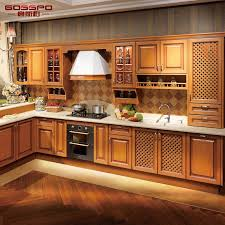Image Modular Kitchens Gosspo Industrial Co Limited hot Item Holistic Kitchen Furniture Design Solid Teak Wood Kitchen Cabinet gsp5048