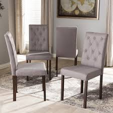 baxton studio gardner gray fabric upholstered dining chairs set of 4