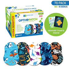 Opthopatch Kids Eye Patches Fun Boys Design 60 10 Bonus Latex Free Hypoallergenic Cotton Extra Sensitive Adhesive Bandages For Amblyopia Cross