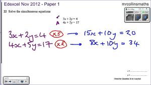 symbols winning solving simultaneous equations edexcel nov solve