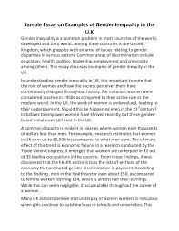 sample essay on examples of gender inequality in the uk