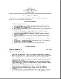 Maintenance Mechanic Resume Sample Maintenance Worker Resume Sample