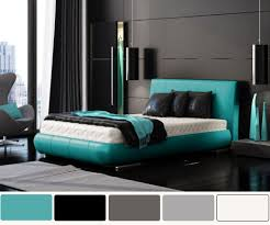 Bedroom:Amusing Bedroom Decorating With Turquoise Headboard And Stripped  Curtain Ideas Modern Bedroom Design With