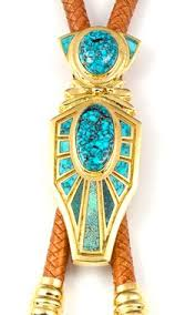 14k gold bolo inla with spiderweb lone mounn turquoise by vernon haskie southwest