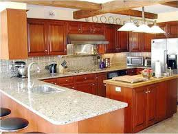 kitchen long brown wooden cabinet with white marble counter top and sink also having brown astounding home interior modern kitchen