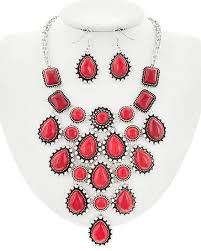 an image relevant to this listing burnished silver plated red stone chandelier statement necklace earring set