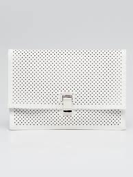 proenza schouler white perforated leather small lunch clutch bag
