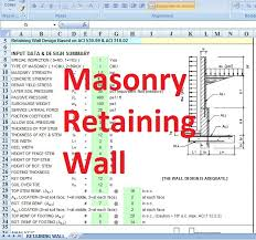 Small Picture Masonry retaining wall design spreadsheet Civil engineering program