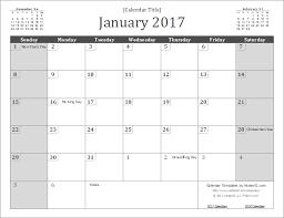 2017 wall calendar template screenshot