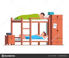 cartoon bunk bed. Students Friends Sleeping On Bunk Bed In Dorm Room \u2014 Stock Vector Cartoon