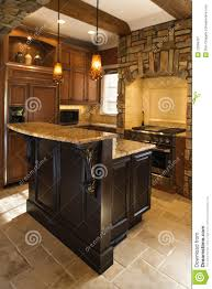 Kitchen Accents Kitchen Interior With Stone Accents In Affluent Ho Royalty Free