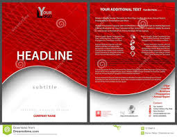Leaflet Template With Red Wavy Background Stock Vector