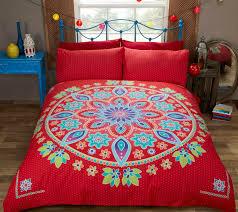 bohemian mandala red duvet cover indian morroccan inspired bedding