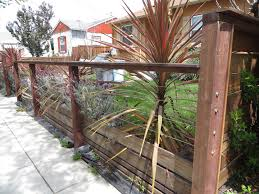 modern metal fence design. Modern Low Fence With Wood At Bottom, Horizontal Wires And Nice Metal Details. Design
