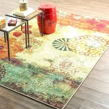 green orange rag rug and