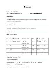 Job Resume Formats Resume Sample Job Resume Format Fitter Fresher