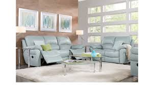 Light Blue Reclining Sofa Vercelli Aqua Leather 5 Pc Living Room With Reclining Sofa