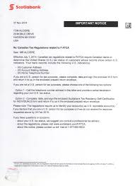 Scotiabank Fatca Letter To A Depositor
