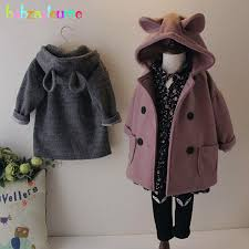 2018 autumn winter korean baby girls jackets cute hooded wool coats for kids clothes infant outerwear children clothing bc1655 kids jackets for