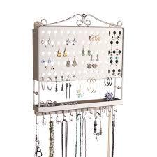 Wall Jewelry Organizer Jewelry Holder Wall Mounted Earring Organizer Necklace Rack
